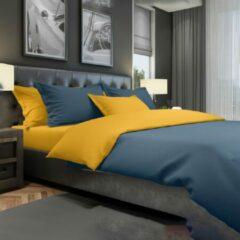 Blauwe Bedset Berlijn - Dekbedovertrek en kussenslopen, 100% gekamd katoen Satijn | Indigo Blue / Gold - The One Towelling
