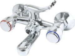 Zilveren Plieger Start Badkraan - 2 knops - met omstel - 15 cm - Chroom