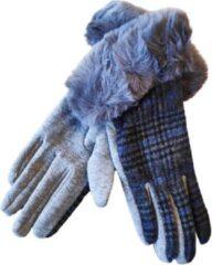 Grijze ECgloves Handschoenen dames schotse ruit