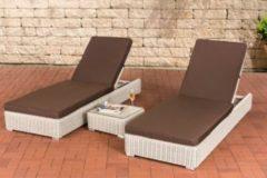 CLP 2 x Polyrattan-Sonnenliege ATESSA inkl. 1x Beistelltisch I 2 x Wellnessliege mit verstellbarer Rückenlehne und dazugehörigem Tisch