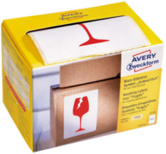 Waarschuwings etiket Avery 'Fragile' op rol in dispenser 74x100mm