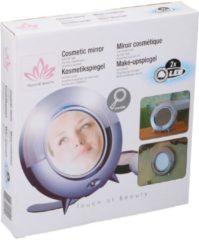Grijze Merkloos / Sans marque Make-up spiegel 2 zijdig met led verlichting 23 cm