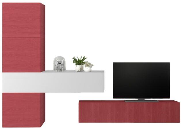 Afbeelding van Pesaro Mobilia TV-wandmeubel set Mendes in hoogglans wit met rood