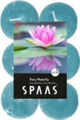 Blauwe Candles by Spaas 48x Geurtheelichtjes Fairy Waterlily 4,5 branduren - Geurkaarsen waterlelie bloemen geur - Waxinelichtjes