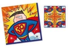 20x Servetten 30 jaar superman geel/blauw/rood 33 x 33 cm - Feest tafeldecoratie servetjes - Verjaardag thema papieren tafeldecoraties