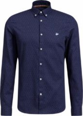Donkerblauwe WE Fashion Heren slim fit overhemd met dessin - Maat XS