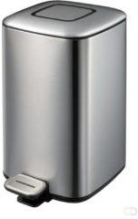 Zilveren EKO pedaalemmer regent - 12 liter - RVS mat
