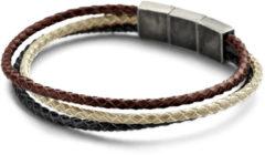 Frank 1967 7FB-0436 Armband staal/leder 3-strengen bruin-beige 21 cm