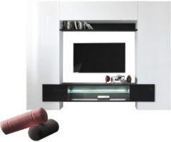 Pesaro Mobilia TV-wandmeubel set Incastro 191 cm hoog - Hoogglans wit met zwart