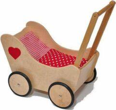 Poppenpret Houten poppenwagen Rozemarie - blank met rood hart, inclusief dekentje