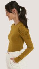 Groene NA-KD Trend Puff Long Sleeve Jersey Top - Green