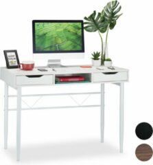 Relaxdays bureau met lades - computertafel - bureautafel - 77 x 110 x 55 cm - modern Wit / wit