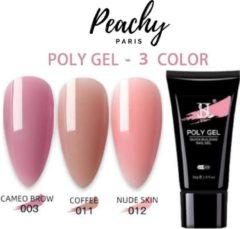 Huidskleurige PEACHY  ® PEACHY ® Paris POLYGEL - 3 Kleuren Kit : Cameo Brown/ Coffee/ Nude 30gr- Gellak- Nagellak - Polygel Manicure set -Gel Nagellak- Nagel verlenging- Acryl Nagels
