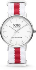 CO88 Collection Watches 8CW 10027 Horloge - Nato Band - Ø 36 mm - Wit / Rood