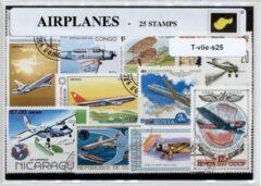 Transparante KLOMP G.T.P Vliegtuigen - postzegelpakket cadeau met 25 verschillende postzegels