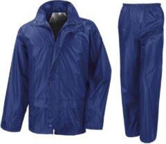 Result Regenpak winddicht kobalt blauw voor meisjes - Regenjas / regenbroek - Regenkleding voor kinderen M (122-128)