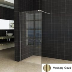 Boss & Wessing BWS Inloopdouche Pro Line Helder Glas 90x200 Geborsteld Messing Goud Profiel en Stang