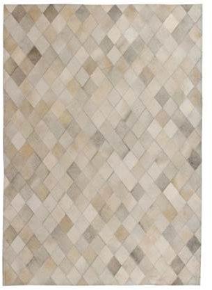 Afbeelding van VidaXL Vloerkleed ruit patchwork 120x170 cm echt leer grijs