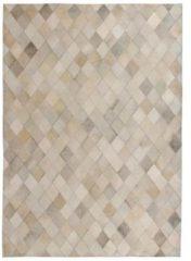 VidaXL Vloerkleed ruit patchwork 120x170 cm echt leer grijs