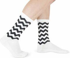 Snelle Sokken Vrolijke Wielrensokken - Fietssokken - Wave print - Wit/Zwart - Maat 39-45