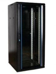 Zwarte Alfaco 19-6627, 27U serverkast-patchkast met glazen voordeur, (BxDxH) 600x600x1400mm