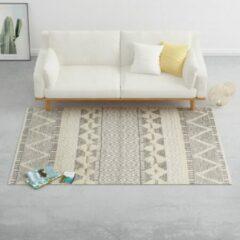 VidaXL Vloerkleed handgeweven 160x230 cm wol wit/grijs/zwart/bruin