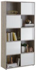 FD Furniture Open Boekenkast Ruta 2 - Zand Eiken met Hoogglans wit