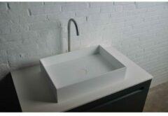 Ideavit Solidjoy opbouw wastafel 50x35x11cm rechthoek 0 kraangaten 1 wasbak Solid surface wit 285074