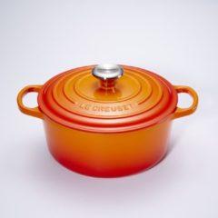 Rode Le Creuset Gietijzeren ronde braadpan in Oranje-rood 24cm 4,2l