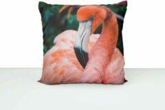Roze ByCristianne Kussenhoes - Flamingo - Woon accessoire - kussen met dierenfoto - 50 x 50 cm