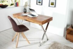 Interieurs online Bureau Sheesham hout met La 120 cm Stone Finish