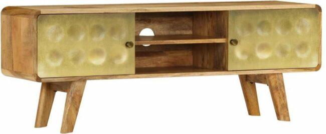 Afbeelding van Gouden VidaXL Tv-meubel 120x30x45 cm massief mangohout
