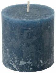 Xenos Kaars rustiek donkerblauw - 7x7 cm