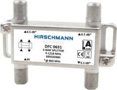 Grijze Hirschmann splitter DFC0631 met 3 uitgangen / 6,5 dB / 5-1218 MHz