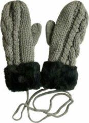 AOP Gebreide wanten met fleece voering en imitatie bontrand kleur grijs maat S