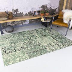 Groene FRAAI | Home & Living Vintage vloerkleed - Wonder Patchwork groen/zwart 280 x 380cm