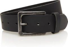 Timbelt 4cm zwarte riem - jeans riem - zwart - 100% leder - Maat 115 - Totale lengte riem 130 cm