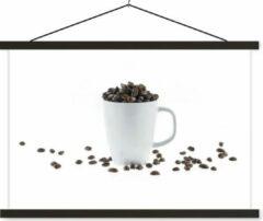 TextilePosters Wit koffiekopje gevuld met koffiebonen schoolplaat platte latten zwart 60x40 cm - Foto print op textielposter (wanddecoratie woonkamer/slaapkamer)