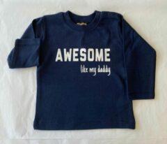 Blauwe Babybugz Baby t-shirt - awesome like my daddy - 18 - 24 maanden