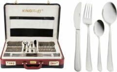 Zilveren Bestekset - 12 persoons - 72-delig - Luxe Opbergkoffer - 18/10 - Kinghoff 3509