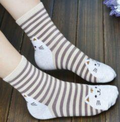 Merkloos / Sans marque Hippe Bruin gestreepte kattensokken - Kat - Unisex Sokken Maat 36-41