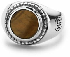 Rebel & Rose Rebel and Rose RR-RG012-S Ring Women Round Tiger Eye zilver-bruin Maat 56