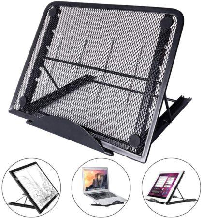 Afbeelding van Universele Tablet & LED A4 Lightpad Diamond Painting & Kookboek Standaard - Bureau Tafel Houder Staander - Inklapbaar & Verstelbaar - Zwart