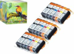 Cyane Ink Hero - 18 Pack met grijs - Inktcartridge / Alternatief voor de Canon CLI-521, PGI-520, PIXMA MP980, MP990, MX860
