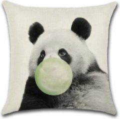 Creme witte By Javy Kussenhoes Animal Party - Panda met Ballon - Kussenhoes - 45x45 cm - Sierkussen - Polyester