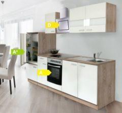 Respekta kitchen economy Respekta Küchenzeile KB270ESWCSE 270 cm Weiß-Eiche Sägerau Nachbildung