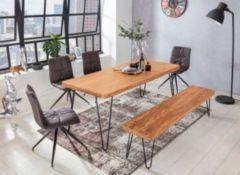 Wohnling WOHNLING Esstisch BAGLI Massivholz Akazie 160 cm Esszimmer-Tisch Holztisch Metallbeine Küchentisch Landhaus dunkel-braun