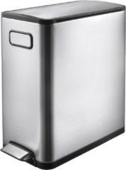 Zilveren EKO recycle pedaalemmer ecofly - 20+20 liter - RVS mat