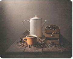 MousePadParadise Muismat Koffie - Koffiepot en kop tussen de koffiebonen muismat rubber - 23x19 cm - Muismat met foto
