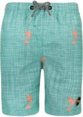 Blauwe SHIWI ZWEMBROEK BOYS MODERN CHECK PALM AQUATIC BLUE, 176